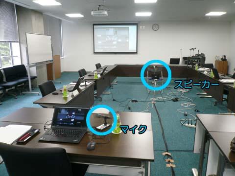 Web会議における弊社ハンドマイクの設置例